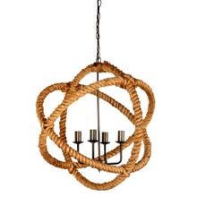 "Amberg (25""Ø) Brass-Toned Metal and Natural Robe Six Bulb Chandelier"