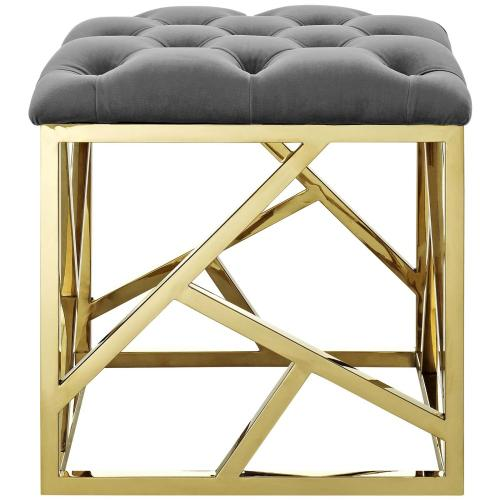 Intersperse Ottoman in Gold Gray