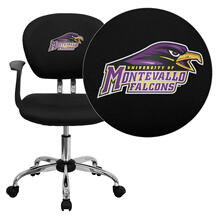 Montevallo Falcons Embroidered Black Mesh Task Chair with Arms and Chrome Base