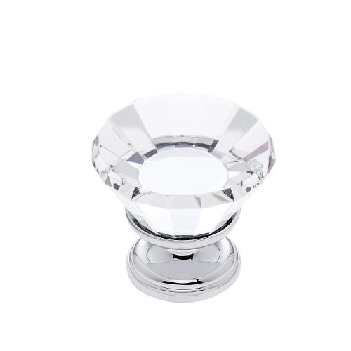 Polished Chrome 30 mm Flat Top Crystal Knob