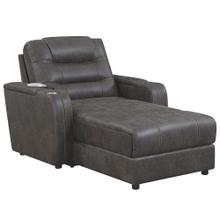 See Details - Power Reclining Chaise Lounge Chair w/Arms, Phone Charger, Cupholder & Storage - Gray