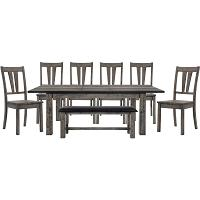 See Details - Hanover Bramble Hill 8-Piece Dining Set w/ Expandable Table, 6 Wood-Seat Side Chairs and Faux-Leather Bench in Weathered Gray Finish, HDR006-8WD-WG