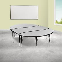 """See Details - 3 Piece 86"""" Oval Wave Flexible Grey Thermal Laminate Activity Table Set - Height Adjustable Short Legs"""