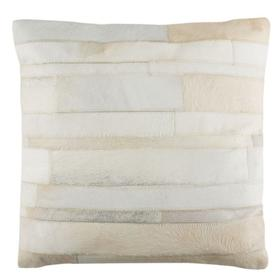 Ruled Cowhide Pillow - White