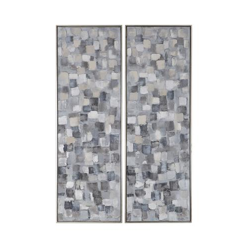 Cubist Hand Painted Canvases, S/2