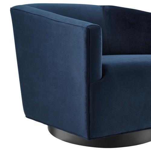 Twist Accent Lounge Performance Velvet Swivel Chair in Midnight Blue