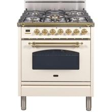 Nostalgie 30 Inch Gas Natural Gas Freestanding Range in Antique White with Brass Trim