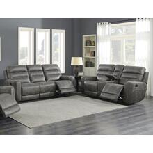 Sintra Charcoal Faux Leather Manual Reclining Sofa and Loveseat Set