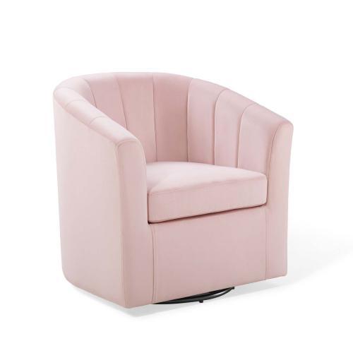 Prospect Performance Velvet Swivel Armchair in Pink