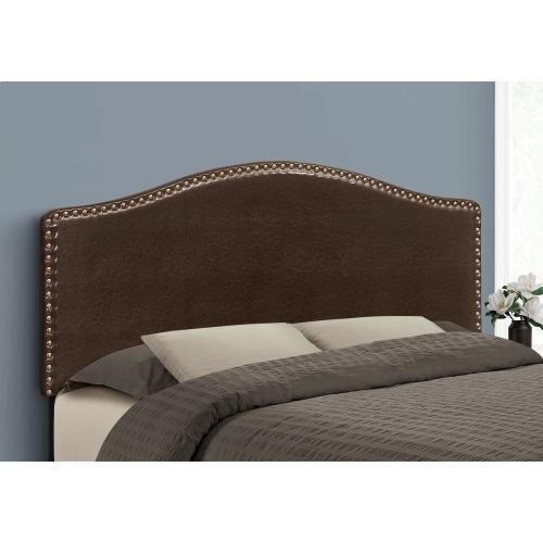 BED - QUEEN SIZE / BROWN LEATHER-LOOK HEADBOARD ONLY
