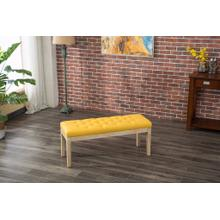 Mod Urban Style Solid Wood Fabric Padded Dining Bench, Yellow