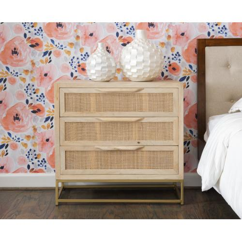 Rattan 3-drawer Cabinet, Natural and Gold