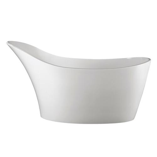 Amalfi 64-1/4 Inch x 31-1/4 Inch Freestanding Soaking Bathtub in Volcanic Limestone™ with Overflow Hole - Gloss White