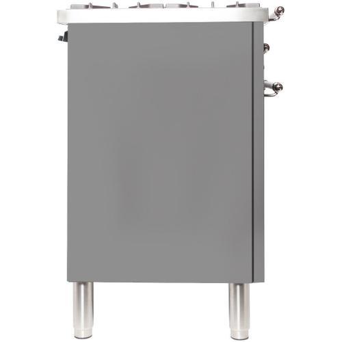 Nostalgie 30 Inch Dual Fuel Liquid Propane Freestanding Range in Stainless Steel with Bronze Trim