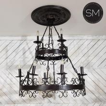Gothic Metal Wrought Iron chandelier black two Tiers 12 lights