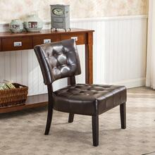 Brown Blended Leather Tufted Back Dining Chair with Oversized Seating