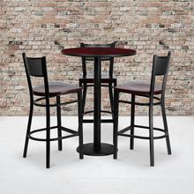 Product Image - 30'' Round Mahogany Laminate Table Set with 3 Grid Back Metal Barstools - Mahogany Wood Seat