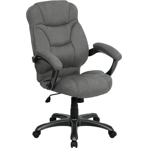Gallery - High Back Gray Microfiber Contemporary Executive Swivel Ergonomic Office Chair with Arms
