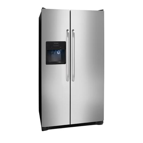 Frigidaire - Refurbished Frigidaire 25.6 Cu. Ft. Side-by-Side Refrigerator.  (This is a Stock Photo, actual unit (s) appearance may contain cosmetic blemishes.  Please call store if you would like actual pictures).  This unit carries our 6 month warranty, MANUFACTURER WARRANTY and REBATE NOT VALID with this item. ISI 44477