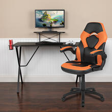 Black Gaming Desk and Orange\/Black Racing Chair Set with Cup Holder, Headphone Hook, and Monitor\/Smartphone Stand