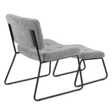 See Details - Stout Lounge Chair + Ottoman - Black Steel, Grey Noise Fabric