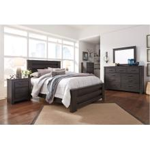 Queen Panel Bed With Mirrored Dresser and 2 Nightstands