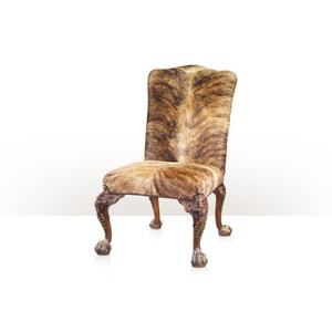 Theodore Alexander - A fine carved mahogany and parcel gilt library sidechair - Hair on Hide Upholstered