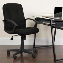 Mid-Back Black Fabric Executive Swivel Office Chair with Nylon Arms