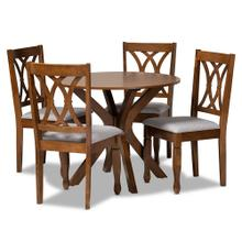Baxton Studio Maya Modern and Contemporary Grey Fabric Upholstered and Walnut Brown Finished Wood 5-Piece Dining Set