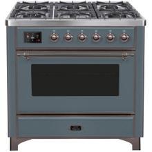 See Details - Majestic II 36 Inch Dual Fuel Liquid Propane Freestanding Range in Blue Grey with Bronze Trim