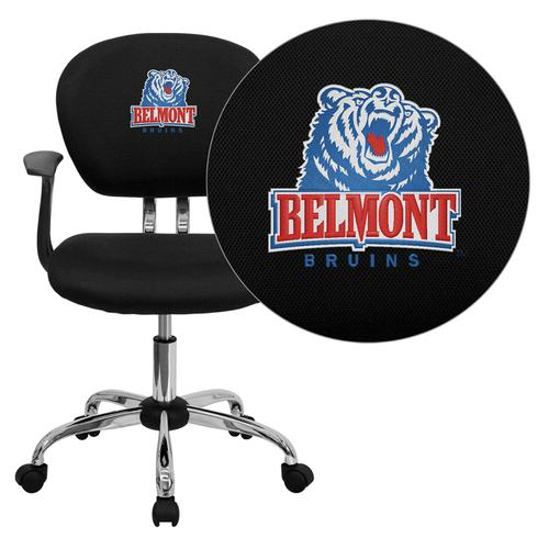 Belmont University Bruins Embroidered Black Mesh Task Chair with Arms and Chrome Base