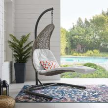 Landscape Hanging Chaise Lounge Outdoor Patio Swing Chair in Light Gray White