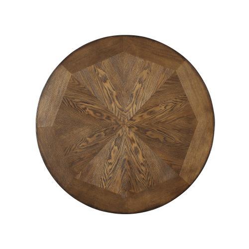 One Small Circular Shelf Pub Table, Rustic Umber