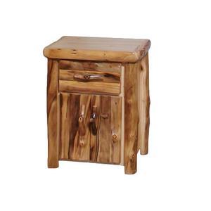 Tall 1 Drawer / 2 Door Nightstand Log Front Natural Panel Natural Log
