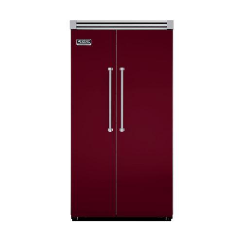 "Viking - Burgundy 42"" Quiet Cool™ Side-by-Side Refrigerator/Freezer - VISB Tru-Flush™ (42"" wide)"