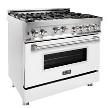 ZLINE 36 in. Professional Gas on Gas Range in Stainless Steel with White Matte Door (RG-WM-36)