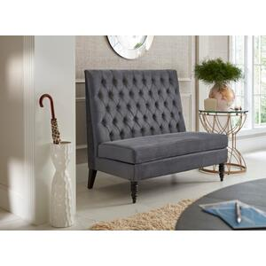 High Back Tufted Entryway Bench in Charcoal Grey