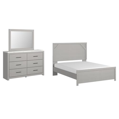Gallery - Queen Panel Bed With Mirrored Dresser