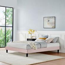 Reign King Performance Velvet Platform Bed Frame in Pink