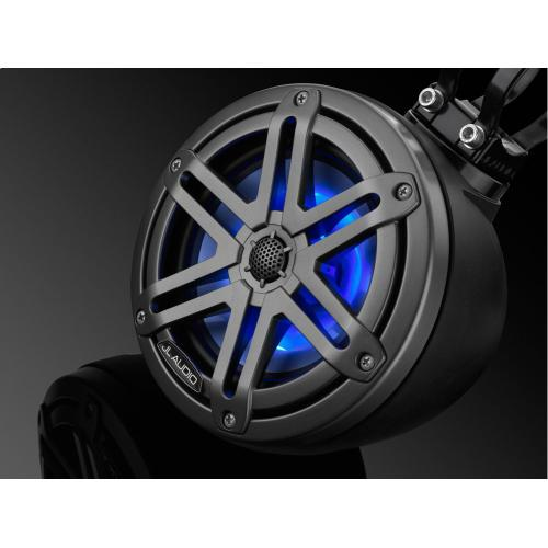 JL Audio - 6.5-inch (165 mm) Enclosed Coaxial System with RGB LED Lighting, Matte Black Enclosure, Gunmetal Sport Grilles