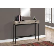 """ACCENT TABLE - 42""""L / TAUPE RECLAIMED WOOD/ BLACK CONSOLE"""