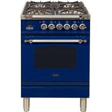 See Details - Nostalgie 24 Inch Dual Fuel Natural Gas Freestanding Range in Blue with Chrome Trim