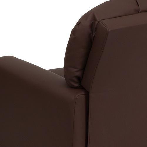 Contemporary Brown LeatherSoft Kids Recliner with Cup Holder