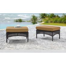 Hanover San Marino Ottoman Set with 2 Woven Ottomans with Cushions in Tan, SMAR-2PCOT-TAN