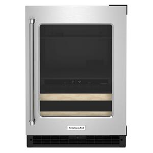 """KitchenAid24"""" Beverage Center with Glass Door and Wood-Front Racks - Black Cabinet/Stainless Doors"""