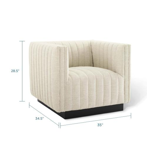 Modway - Conjure Tufted Upholstered Fabric Armchair in Beige