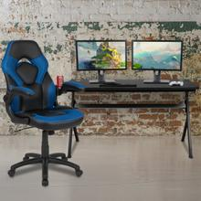Gaming Desk and Blue\/Black Racing Chair Set \/Cup Holder\/Headphone Hook\/Removable Mouse Pad Top - 2 Wire Management Holes