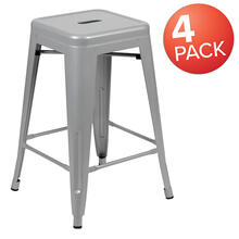 "24"" High Metal Counter-Height, Indoor Bar Stool in Silver - Stackable Set of 4"