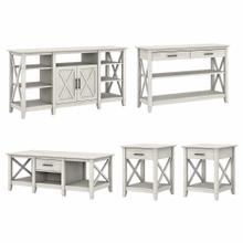 See Details - Tall TV Stand with Coffee Table, Console Table and Set of 2 End Tables, Linen White Oak