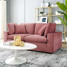 See Details - Commix Down Filled Overstuffed Performance Velvet Loveseat in Dusty Rose